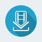Film download icon. Vector illustration of single isolated film download icon Stock Photo