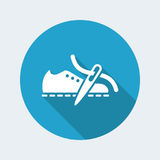 Vector illustration of single isolated shoe or repair production Stock Image