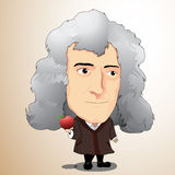 Vector illustration - Sir Isaac Newton. Sir Isaac Newton Cartoon Character with Illustrator Stock Photo