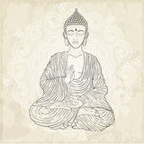 Vector illustration of Sitting Buddha. Royalty Free Stock Images