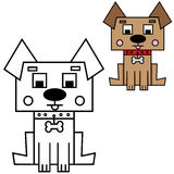 Vector illustration of Sitting Dog. Colored and black and white outlined versions Stock Photos