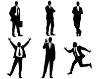 Six businessmen silhouettes. Vector illustration of a six businessmen silhouettes Stock Photography
