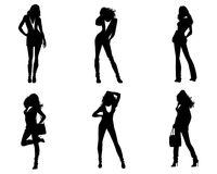 Six girls silhouettes. Vector illustration of six girls silhouettes on white background Royalty Free Illustration
