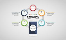 Six Mobile Gears Infographic Royalty Free Stock Image