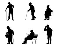 Six silhouettes of older people Stock Photography
