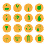 Vector illustration of sixteen yellow grunge icons with green images illustrating the concept of an eco-friendly city Stock Photo