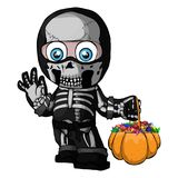 Vector illustration of a skeleton, a boy in a suit, a halloween costume, a child. Trick or treat.  royalty free illustration