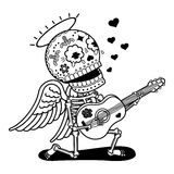 Vector illustration of skeletons. Angel with guitar sing serenade. Calaveras. Vector flat and linear Illustration of skeleton. Web banners, advertisements Royalty Free Stock Image