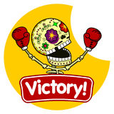 Vector illustration of skeletons. Boxer winner. Long Live the Victory.Vector flat and linear Illustration of skeleton. Web banners, advertisements, brochures Royalty Free Stock Photo