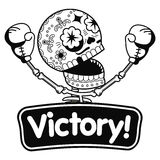 Vector illustration of skeletons. Boxer winner. Long Live the Victory.Vector flat and linear Illustration of skeleton. Web banners, advertisements, brochures Stock Images