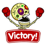 Vector illustration of skeletons. Boxer winner. Long Live the Victory.Vector flat and linear Illustration of skeleton. Web banners, advertisements, brochures Royalty Free Stock Images