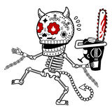 Vector illustration of skeletons. Demon with a chainsaw. Calaveras. Vector flat and linear Illustration of skeleton. Web banners, advertisements, brochures stock photo