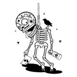 Vector illustration of skeletons. Vector flat and linear Illustration of skeleton. Broken heart pushes suicide in the loop. Web banners, advertisements Stock Images