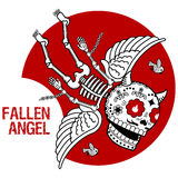 Vector illustration of skeletons. Vector flat and linear Illustration of skeleton. Fallen angel. Demon in chains on a red background. Web banners, advertisements Royalty Free Stock Photos