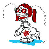Vector illustration of skeletons. Vector flat and linear Illustration of skeleton. Girl cries with a broken toy teddy bear. Human emotions. Web banners Royalty Free Stock Image