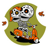 Vector illustration of skeletons. Vector flat and linear Illustration of skeleton. Hipster young man and woman couple on a scooter. Web banners, advertisements Royalty Free Stock Images