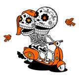 Vector illustration of skeletons. Vector flat and linear Illustration of skeleton. Hipster young man and woman couple on a scooter. Web banners, advertisements Stock Photography