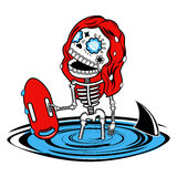 Vector illustration of skeletons. Girl baywatch. Calaveras. Vector flat and linear Illustration of skeleton. Web banners, advertisements, brochures, business Royalty Free Stock Photography