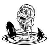 Vector illustration of skeletons. Girl baywatch. Calaveras. Vector flat and linear Illustration of skeleton. Web banners, advertisements, brochures, business Stock Photography