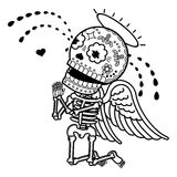 Vector illustration of skeletons. Love angel crying on his knees and begs forgiveness. Vector flat and linear Illustration of skeleton. Web banners Royalty Free Stock Photo