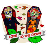 Vector illustration of skeletons. A loving couple holding hands while lying in coffins. Vector flat and linear Illustration of skeleton. Web banners Royalty Free Stock Image