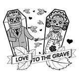 Vector illustration of skeletons. A loving couple holding hands while lying in coffins. Vector flat and linear Illustration of skeleton. Web banners Royalty Free Stock Photo