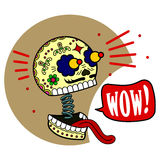 Vector illustration of skeletons. Wow. Surprised eyes widened, jaw dropped and fell language. Vector flat and linear Illustration of skeleton. Web banners Royalty Free Stock Photos