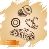 Vector illustration sketch - bakery. bagels. Card  house. Vector illustration sketch - bakery. bagels. Card bakery house Royalty Free Stock Photos