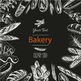 Vector illustration sketch - bakery. loaf, baguette, bread. Vector illustration sketch - bakery. loaf, baguette, bread French bakery Royalty Free Stock Images
