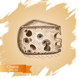 Vector illustration sketch - cheese. provolone, cheddar, edam. Vector illustration sketch - cheese. provolone, cheddar, edam food card Royalty Free Stock Photography