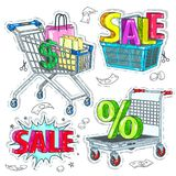 Colorful sticker, set cards and baskets, and the inscription sale. Vector illustration sketch, of comic style colorful icons, set cards and baskets, and the Royalty Free Stock Image