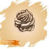 Vector illustration sketch eclair. Bakery card Stock Photography