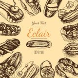 Vector illustration sketch eclair. Card menu profiterole. Bakery card Royalty Free Stock Photography