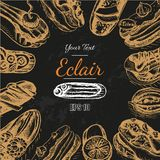 Vector illustration sketch eclair. Card menu profiterole. Bakery card Stock Images