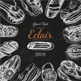 Vector illustration sketch eclair. Card menu profiterole. Bakery card Stock Photo