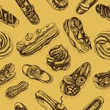Vector illustration sketch eclair. Pattern profiterole. Bakery card Stock Photo