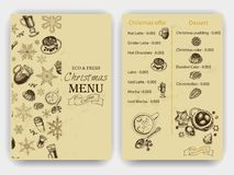 Vector illustration sketch - Vintage Menu. coffee. Christmas hand drawn Decorations - fur tree for xmas design. With balls, toys,. Vector illustration sketch Stock Images