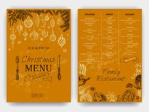 Vector illustration sketch - Greeting cards and holiday design. Vintage Xmas Menu. Vector illustration sketch - Greeting cards and holiday design. Christmas hand Stock Photography