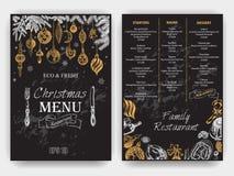 Vector illustration sketch - Greeting cards and holiday design. Vintage Xmas Menu Stock Image