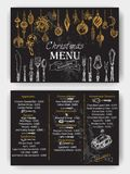 Vector illustration sketch - Greeting cards and holiday design. Vintage Xmas Menu Royalty Free Stock Images