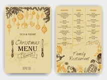 Vector illustration sketch - Greeting cards and holiday design. Vintage Xmas Menu Royalty Free Stock Photography