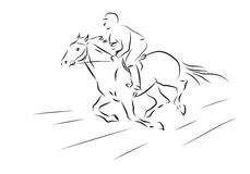Vector illustration of sketch horseman galloping on horse. Sketch horseman galloping on horse - vector illustration Stock Images