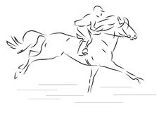 Vector illustration of sketch horseman galloping on horse. Sketch horseman galloping on horse- vector illustration Royalty Free Stock Image