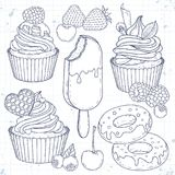 Set dessert, cupcakes, cakes, doughnuts and berries. Vector illustration, sketch icons, set dessert, cupcakes, cakes, doughnuts and berries are painted on a Stock Photo