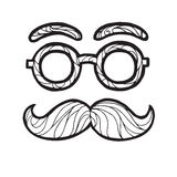 Vector illustration of sketch  male mustache fashionable hipster style,  round glasses Stock Photo