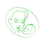Vector illustration sketch mother with small baby. Vector illustration sketch mother with a small baby. Logo mom and newborn baby on an isolated white background Royalty Free Stock Image