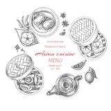 Vector illustration sketch - asian food. Card menu Dim Korean food.. vintage design template, banner. Stock Photo