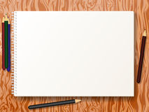 Vector illustration sketch pad with pencils Stock Image