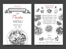 Vector illustration sketch - pasta. Card menu italian restaurant. Banner italan food. Stock Photography