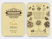Vector illustration sketch - pasta. Card menu italian restaurant. Banner italan food. Royalty Free Stock Photo